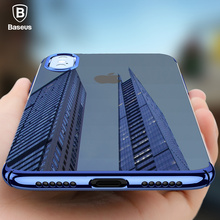 BASEUS Brand Bling Electroplating ARC Edge Hard PC Clear Back Case For iPhone X / For iPhone 7 / 7 Plus Ultra-Slim Phone Cover