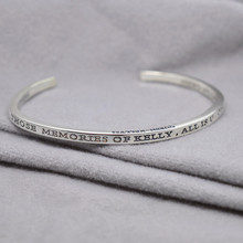 Wholesale Sterling Silver Engraved Cuff Bangle Personalized Words Quote Name 3D Thin Band Design Unisex Jewelry Gift(China)