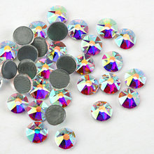 New Faceted Cut Facets (8 big + 8 small) hot back AAA Quality SS16 SS20 SS30 Crystal AB Iron On Hotfix Garment style Rhinestones(China)