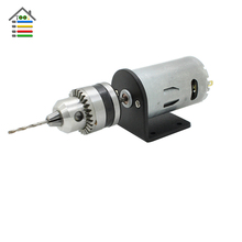 Mini Hand Electric Drill DC Motor 12-24V 2A PCB Wood Drilling Set 10pc 1.5-6mm Twist Bits & B10 Drills Chuck & Bracket Stand