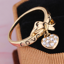 Hot Sale New Arrival 18K Gold/Platinum Plated Cubic Zirconia heart wedding Ring wholesale  E-shine Jewelry