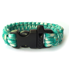 Paracord Bracelets Kit Military Emergency Survival Bracelet Men Charm Bracelets/550 Paracord Cord /Lightblue And White(China)