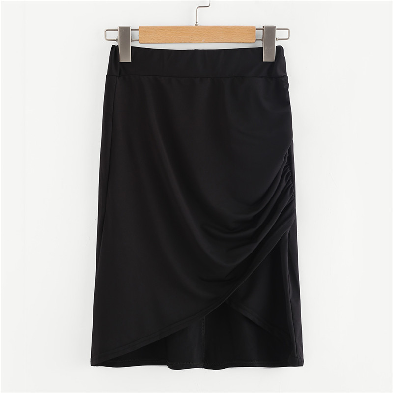 COLROVE Sexy Ruched Mini Pencil Skirt Women Black Asymmetrical Overlap Summer Skirts 2017 New Elegant High Waist Slim Club Skirt 20