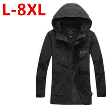 2017Plus size 9XL 8XL 7XL 6XL 5XL 4xl men's spring jacket coat High Quality outwear Windbreaker warm Thin cotton-padded jackets(China)