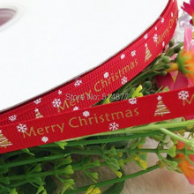 "Red Color Upick 3/8"" grosgrain ribbon bows Merry Christmas printed DIY craft appliques 20 Y(China)"