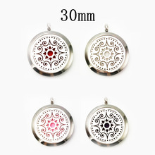 30mm Stainless Steel Aroma Diffuser Necklace Perfume Essential Oil Aromatherapy Locket Necklace(free felt pads,locket only)