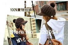 Free shipping,1pcs,Fashion women's knitted hat, lovely ball hand-knitted winter Peaked cap,100% acrylic.