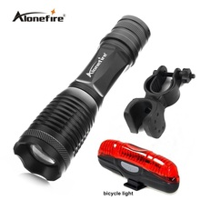 E007 CREE XML-T6 2000Lumens LED Flashlight Waterproof Zoomable Torch lights+Bicycle Light+Mount Holder Support Torch Clip(China)