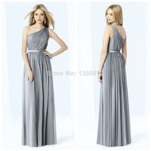 Exquisite New One-shoulder Prom Gowns Satin Pleated Sleeveless Floor-length Bridesmaid Dresses Sash Cheap Choice Dress TM65