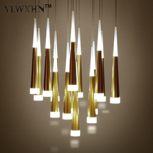 2017 Luminaire New Acrylic Chandelier Personality Cone Pendant Lamp Minimalist Fashion Luxury Atmosphere Staircase Restaurant