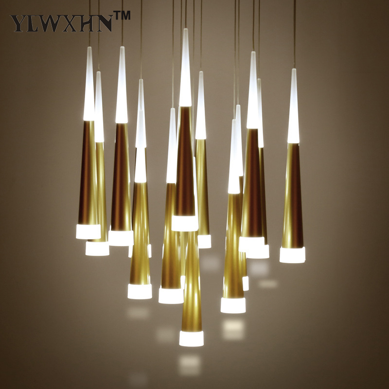 2017 Luminaire New Acrylic Chandelier Personality Cone Pendant Lamp Minimalist Fashion Luxury Atmosphere Staircase Restaurant <br>