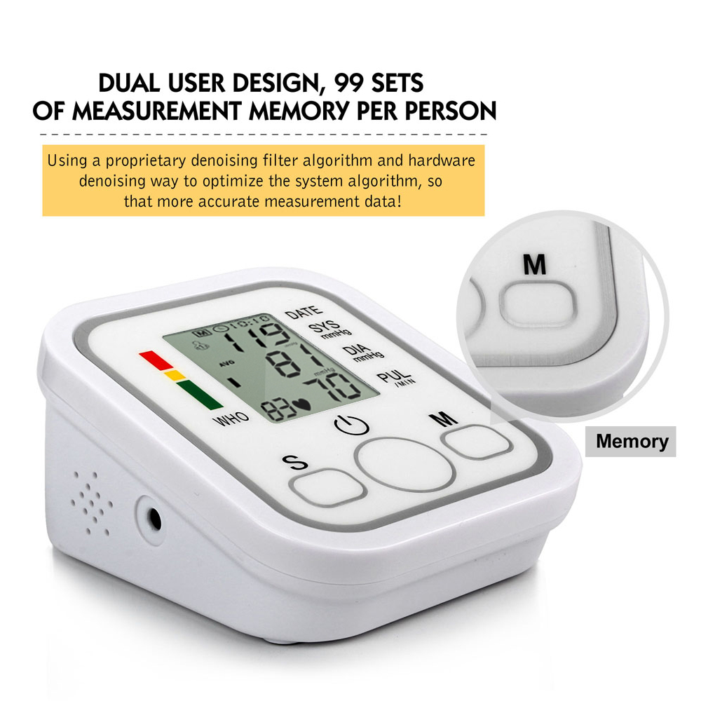 Health Care Household Professional Doctor's Digital Arm Blood Pressure Pulse Tonometer Meter Portable Accurate Home Use Monitor 11