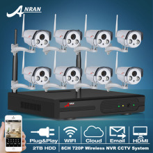 Plug And Play 8CH CCTV System Wireless NVR 2TB HDD P2P 720P HD 2 Array IR Outdoor Security IP Camera WIFI Surveillance System