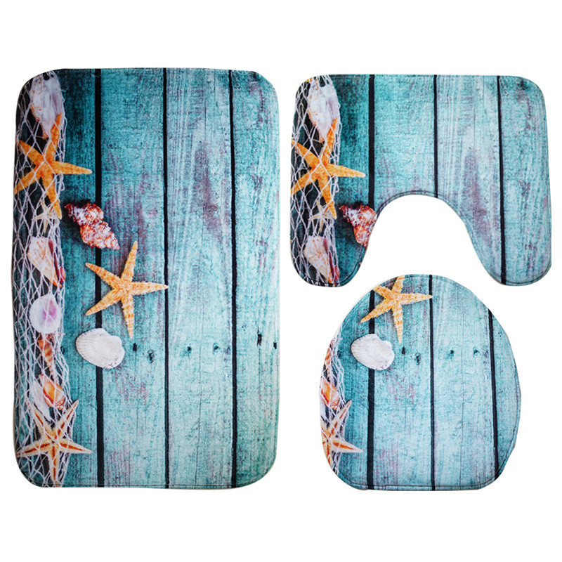 fine joy 3pcs/set Hot Sale Starfish Shells Carpet Mat Anti-Slip Bathroom Carpets Toilet Cover Bath Mat Living Room Floor Mat