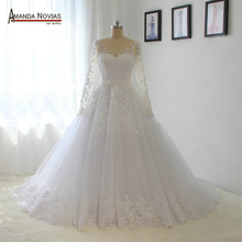 Elegant high quality 100% real photos amanda novias wedding dress with lace sleeves(China)