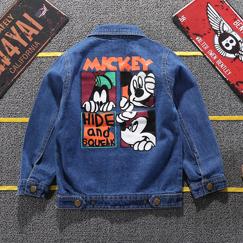 19 Mickey Denim Jacket For Boys Fashion Coats Children Clothing Autumn Baby Girls Clothes Outerwear Cartoon Jean Jackets Coat 14