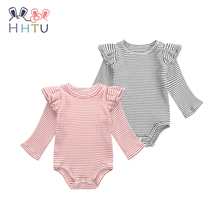 HHTU 2017 Newborn Baby Infant Jumpsuit Long Sleeve Rompers Autumn Spring Baby Grils Cute Striped Clothing Black Red Clothes(China)