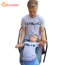 "Babyinstar Father & Me Matching Clothe Cute Print "" Ctrl C + Ctrl V "" Pattern T-shirt Family Wear 2017 Summer Family Look(China)"