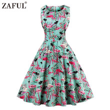 ZAFUL New Plus Size Swan Flamingo Print Vintage Dress Women Pin Up Robe Rockabilly A-line Party Dresses Feminino Tunic Vestidos