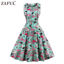 ZAFUL New Plus Size Swan Flamingo Print Vintage Dress Women Pin Up Robe Rockabilly A-line Party Dresses Feminino Tunic Vestidos(China)