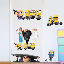 2017 New Funny Yellow Crtoons Wall Stickers Kids Room Decorations Adesivos De Parede Diy Home Decals Movie Mural Art(China)