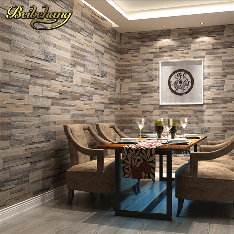 beibehang 3D wallpaper wood brick pattern wallcovering pvc stone design wall paper vintage style papel de parede for home decora<br>