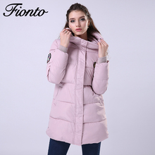 FIONTO 2017 New Fashion Long Winter Jacket Women Slim Female Coat Thicken Parka Cotton Clothing Clothing Hooded Student F020