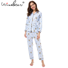 New 2017 Pajama Sets Women Cute Corgi Print French Bulldog 2 Pieces Set Long Sleeve Elastic Waist Cotton Lounge pijamas S78801(China)