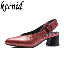 Summer new fashion women pumps 100% cow leather slingbacks thick heels round toe shallow mouth elegant single shoes plus size 43