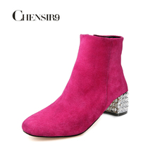 CHENSIR9 Women Genuine Leather Ankle Boots Golden/Silver square heel with Rhinestone Ladies Boots plus size 33-43 JD09A