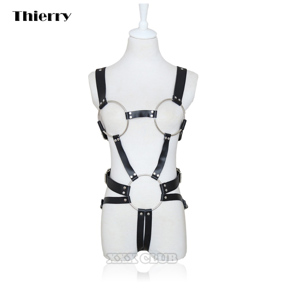 Thierry Female Fetish leather body Harness Metal loop exposed breast bondage chastity belt flirting Passion adult games sex toys<br>