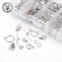 Mixed Jewelry Findings with 40 Lobster Claw Clasps and Spring Clasps + 20 sets Toggle Clasps + 30 Ribbon Ends + 10g Jump Rings(China)