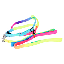 Colorful Rainbow Chest Back Type Dog Harness Leash, Colorful Nylon Pet Harness, Adjustable Dog  Strap Free Shipping
