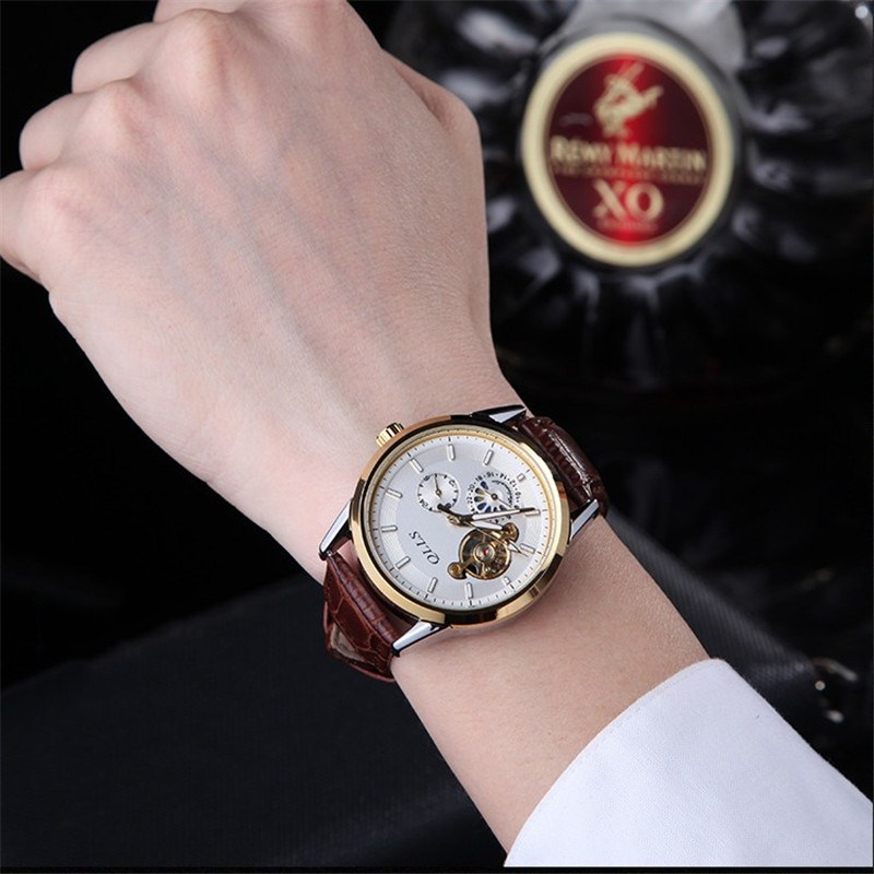 QLLS Skeleton Watch Men Automatic Waterproof Top Brand Mens Mechanical Watches Leather clock man Relogio Masculino<br>