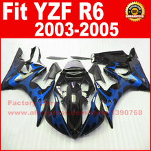 motorcycle fairings set 2003 2004 2005 YAMAHA YZFR6 03 04 05 YZF R6 46 blue flame black fairing kits bodywork parts - ZXMOTOR Fairings Store store
