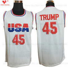 2017 Cheap Mens USA Basketball Jerseys Donald Trump 45 Jersey Stitched White Shirt 2016 Commemorative Edition Mesh For Man New