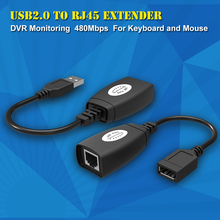 New USB Extender Adapter 50m Single RJ45 Ethernet CAT5E 6 Up to 150ft Cable for Laptop DVR Mouse(China)