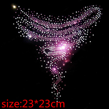 23*23cm iron on transfer patches hot fix rhinestone motif iron on crystal transfers design for shirt dress