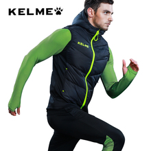Kelme Carle Beautiful Motion Down Vest Male Winter Even Hat Vest Football Waistcoat Training Serve Keep Warm Loose Coat(China)