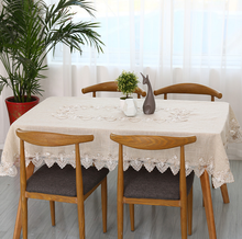 Free shipping pastoral plain linen tablecloth many sizes cotton&lace light gray tea table cloth/piano cover(China)