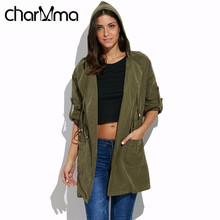 charMma Fashion Trench Coat Hooded Long Sleeve Autumn Spring Coat Army Green Pockets Outerwear Turn Down Collar Women Trench