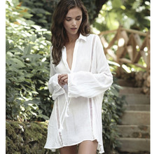 2017 beach style sexy cotton dress loose size holiday boho chic loose mini dress long sleeve casual white sun dresses vestidos(China)