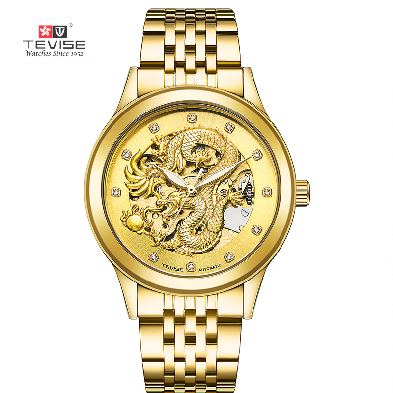 TEVISE  Mens Watch Skeleton Hollow Golden Dragon Mechanical Watch Automatic Winding Waterproof Relogio Automatico Masculino<br>
