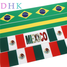 DHK 1.5'' 50yards Free shipping brazil mexico flag printed grosgrain ribbon Accessory hairbow headwear DIY decoration 38mm S812