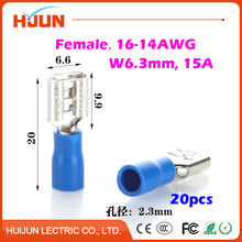 20pcs/lot 6.3 plug FDD2-250 Blue Female Quick Disconnect Cable Wire Splice Insulation Terminal Connector 1.5-2.5mm2 16-14AWG(China)