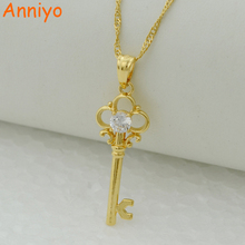 Anniyo key pendant necklace chain women gold color jewelry mum,fancy gift exquisite gift W/Zirconia(China)