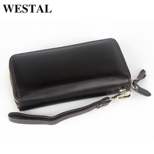 WESTAL Double Zippers Genuine Leather Men Wallets Man Wallet Leather Coin Purse Men Wallet Credit Card Holder Male Clutch 9015
