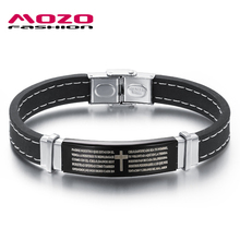 MOZO FASHION Hot Sale Men Jewelry Silicone Bracelet Stainless Steel Cross Bible Simple Rubber Bracelets Man Accessories MPH924