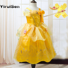 Toddler Girls Summer Belle Dresses Princess Costume Party Clothing Beauty and the Beast Yellow Dress Sleeveless Clothes(China)