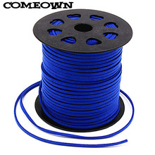 COMEOWN Sapphire Blue 3mm 100yards/roll Flat Faux Suede Cord Leather Lace Thread for Clothes Shoes Findings DIY Jewelry Cords(China)